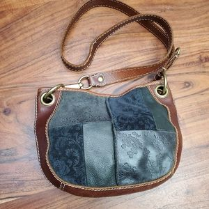 Fossil Leather Stiched Crossbody Bag